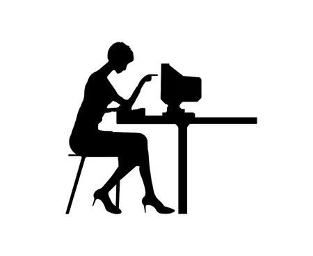 computer hacker: Black silhouette the women typing at a computer Stock Photo