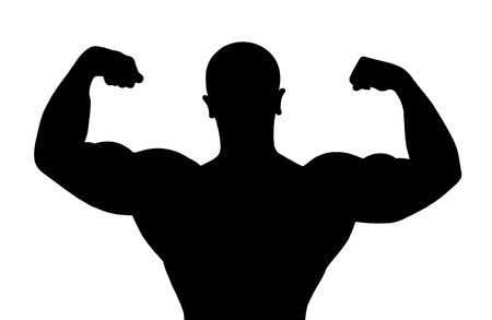 triceps: Black silhouette of the bodybuilder on white background Stock Photo