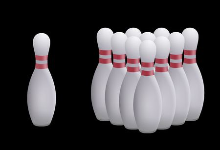 skittles: Color illustration of the bowling skittles pyramid Stock Photo