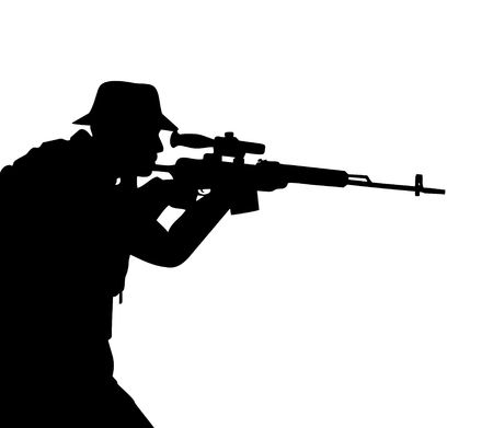assault rifle: Black silhouette of the riflemen isolated on white Stock Photo