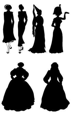 Black silhouettes of the ladys on white background  Stock Photo - 3259463