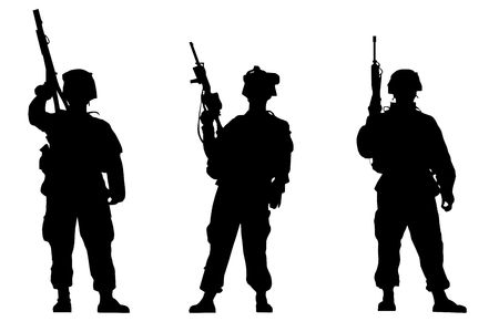 military shield: Black silhouettes of the soldiers on white background