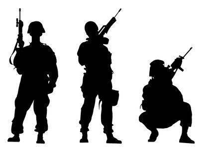 silueta masculina: Negro siluetas de los soldados sobre fondo blanco  Foto de archivo