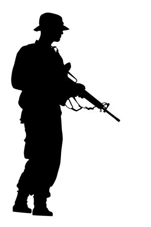 Black silhouette of the going soldier on white background photo