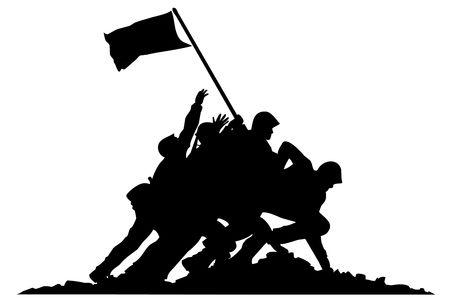batallon: Negro silueta de los soldados con bandera en el fondo blanco Foto de archivo
