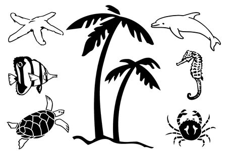 Illustration of the inhabitants sea in white background Stock Illustration - 3696831