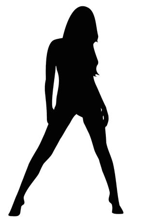 Black silhouette of the sexy girl on the white background photo