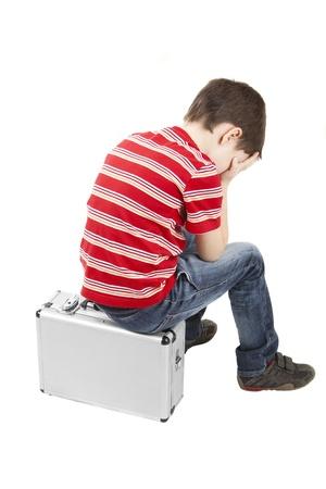 crying boy: Imagen de un ni�o llorando en un blanco Foto de archivo