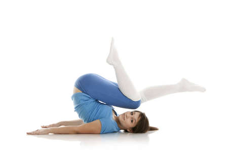 Image of a girl practicing yoga on white Stock Photo - 12797361