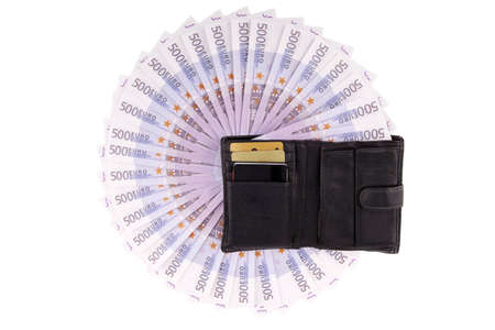 financials: Image purse with euros on the white Stock Photo