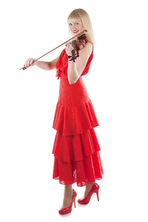 Image a girl playing the violin on white