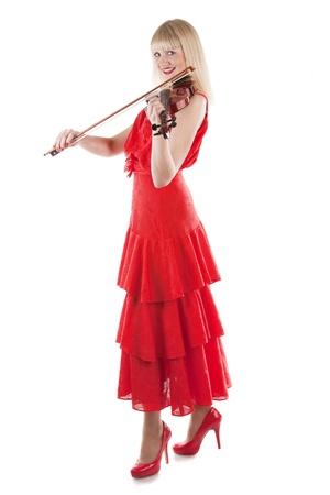 violinista: Imagen de una chica tocando el viol�n sobre fondo blanco