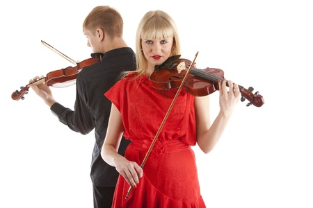 violins: Image of musicians playing violins on white