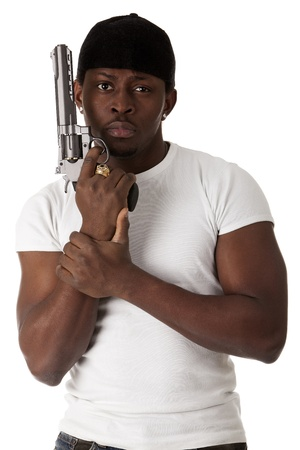 Image of  young thug with a gun Stock Photo - 13042562