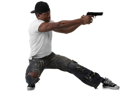 Image of  young thug with a gun photo