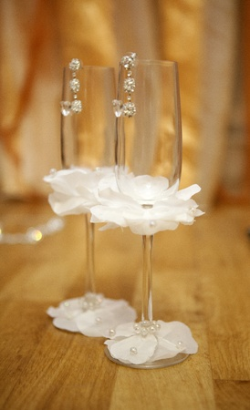 Image of a pair empty decorated wineglasses Stock Photo - 13142718