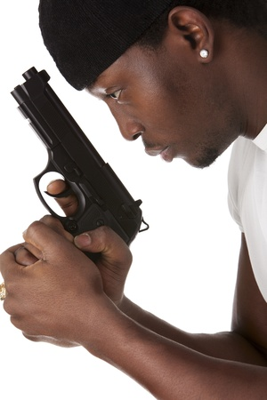 Image of  young thug with a gun Stock Photo - 13236995