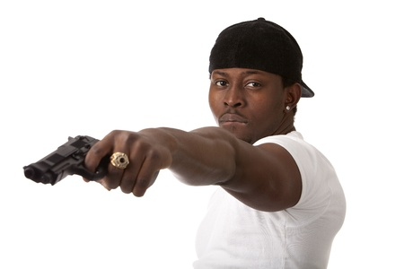 Image of  young thug with a gun Stock Photo - 13236986