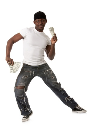 african dance: Image of  smiling young man with dollars