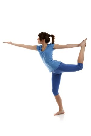 Image of a girl practicing yoga on white photo