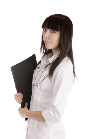 Image of a young doctor girl on white photo