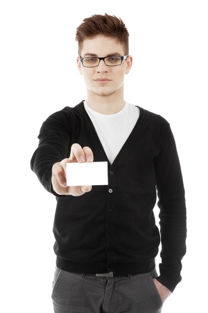Image of a man showing business card in hand photo