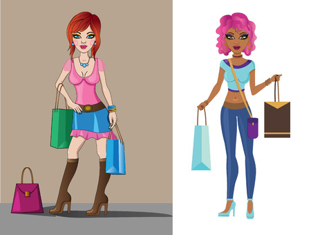 Vector illustration of a  two shopping girls Vector
