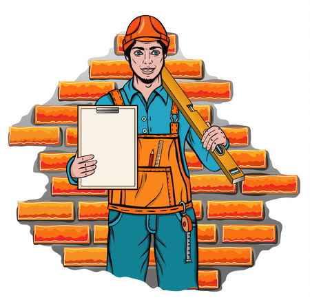 overall: Vector illustration of a builder holding level