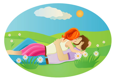 woman lying down: Vector illustration of a  kissing couple at the  meadow