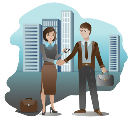 mutual assistance: Vector illustration of a handshake business partners