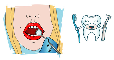 tough girl: Vector illustration of a girl at the dentist