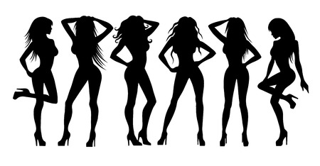 feet naked: Vector illustration of a girls silhouettes on white