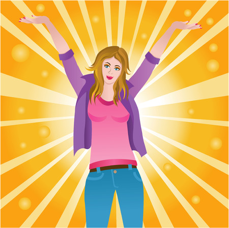 Vector illustration of a happy successful joyful woman Vector