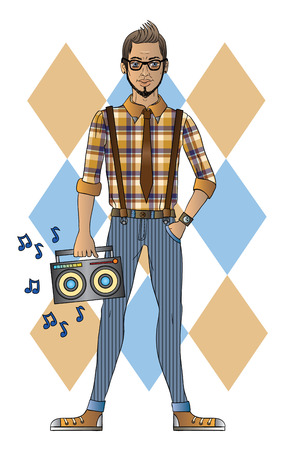 suspenders: Vector illustration of a hipster with recorder Illustration