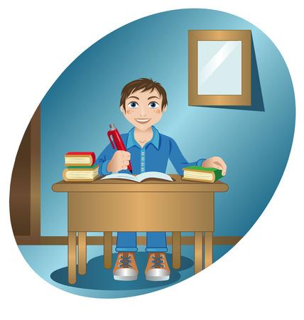schoolboy: Vector illustration of a schoolboy at the table