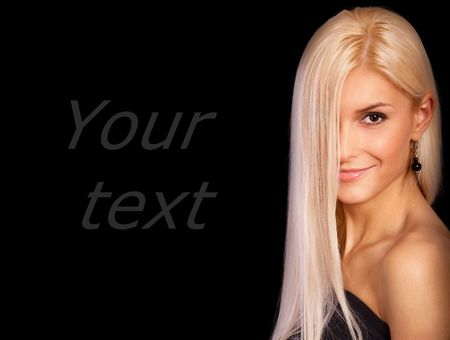 Charming blonde, it is isolated on black background. Stock Photo