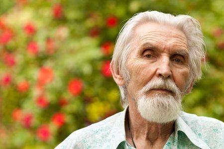 plot: Portrait courageous seniors against summer personal plot.