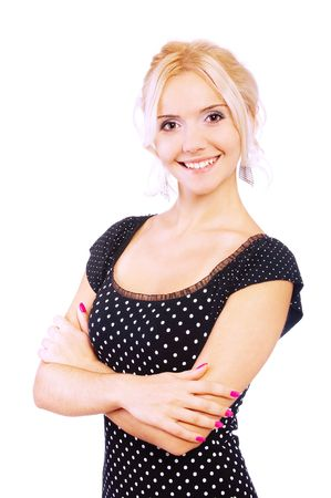 Portrait of charming smiling fair-haired girl, it is isolated on white background. Stock Photo - 6453896
