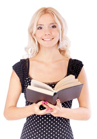 Young beautiful girl-student with textbook, it is isolated on white background. Stock Photo - 6453888