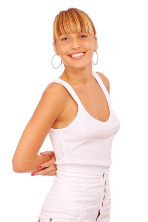 Beautiful smiling woman. Isolated over white background Stock Photo - 6457351
