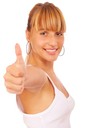 Casual woman smiling with her thumbs up, it is isolated on white background. photo