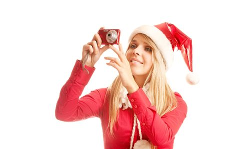 Girl taking photos to a young santa woman in christmas holidays, isolated on white background. photo