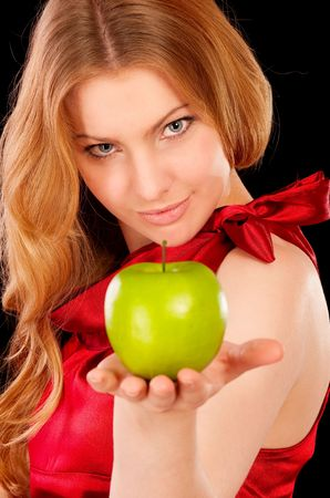 Closeup portrait of girl with green apple, isolated on white background. Stock Photo - 6520784