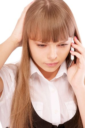 Businessgirl is dissatisfied with phone conversation, isolated on white background. photo