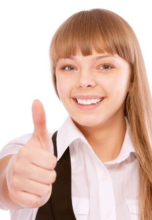 Business woman giving thumbs-up sign, isolated on white background. photo