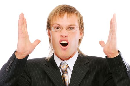 Portrait of young businessman shouting loudly with his arms widened, isolated on white background. Stock Photo - 6610145