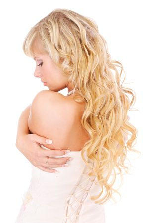 Girl with long fair hair from back, isolated on white background. Stock Photo - 6610066