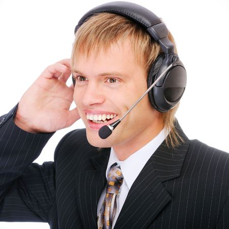 marketeer: Male customer service, isolated on white background.