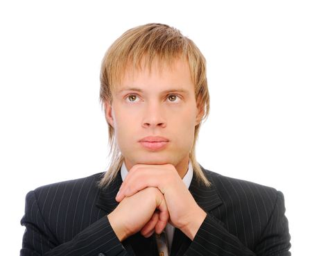 reflects: Fair-haired businessman reflects on problems, isolated on white background.