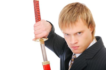 Man with sword protects business, isolated on white background. photo